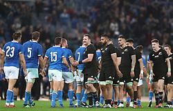 November 24, 2018 - Rome, Italy - Italy v New Zealand All Blacks - Rugby Cattolica Test Match.New Zealands captain Kieran Read leads the team greeting the Italy opponents at Olimpico Stadium in Rome, Italy on November 24, 2018. (Credit Image: © Matteo Ciambelli/NurPhoto via ZUMA Press)