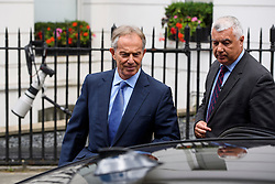 ©  London News Pictures. 05/07/2016. London, UK. Former British prime minister TONY BLAIR seen leaving his office central London on July 5, 2016. The the long-awaited Chilcot inquiry into the war in Iraq is due to be released on Wednesday. Photo credit: Ben Cawthra/LNP