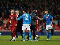 Football - 2019 / 2020 UEFA Champions League - Group E: Liverpool vs. Napoli<br /> <br /> Liverpool manager Jurgen Klopp congratultaes Napoli players Eljif Elmas and Giovanni Di Lorenzo at the end of the game, at Anfield.<br /> <br /> COLORSPORT/ALAN MARTIN