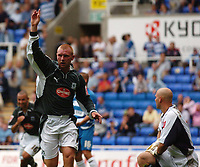 Photo: Alan Crowhurst.<br /> Reading v Plymouth Argyle. Coca Cola Championship.<br /> 06/08/2005. Nick Chadwick salutes after scoring the winner for Plymouth.