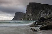 Images from the Lofoten Islands in arctic Norway at midsummer Kvalvika Beach in Moskenesøya, Lofoten Islands