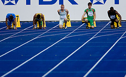 Simone Collio (ITA), Michael Frater (JAM), Matic Osovnikar  of Slovenia, Arnaldo Abrantes (POR) and Berenger Aymard Bosse (CAF) compete in the men's 100m qualifying event of the 2009 IAAF Athletics World Championships on August 15, 2009 in Berlin, Germany. (Photo by Vid Ponikvar / Sportida)