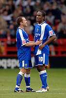 Photo: Glyn Thomas.<br />Sheffield Utd v Cardiff City. Coca Cola Championship.<br />29/10/2005.<br />Cardiff's Cameron Jerome (R) gets some advice from teammate Kevin Cooper.