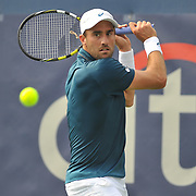 STEVE JOHNSON of the United States plays against Lukas Lacko of Slovakia at Day 2 of the Citi Open at the Rock Creek Tennis Center in Washington, D.C.