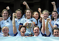 Rugby Union - 2018 / 2019 season - Gill Burns Division 1 Final Sussex v Yorkshire Women<br /> <br /> Yorkshire team celebrate, at Twickenham.<br /> Yorkshire Captain and player of the match, Tilly Churm lifts the trophy<br /> <br /> COLORSPORT/ANDREW COWIE