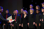 Dympna O Byrne leads Avaya Voice in Choir Factor 2014 in the Radisson blu Hotel, Galway in aid of SCCUL Sanctuary at Kilcuan, Clarinbridge . Photo:Andrew Downes.
