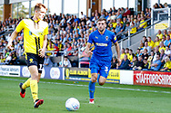 Wimbledon defender Ben Purrington (3), on loan from Rotherham United, looks to close down during the EFL Sky Bet League 1 match between Burton Albion and AFC Wimbledon at the Pirelli Stadium, Burton upon Trent, England on 1 September 2018.