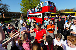 Lizzy Yarnold visits West Kingsdown Prmary School during the victory bus tour through West Sevenoaks, Kent.