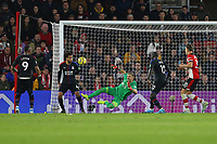 Football - 2019 / 2020 Premier League - Southampton vs. Crystal Palace<br /> <br /> Vicente Guaita of Crystal Palace makes a brilliant reaction save to deny Southampton a goal at St Mary's Stadium Southampton<br /> <br /> COLORSPORT/SHAUN BOGGUST