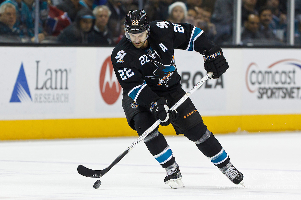 Dec 1, 2011; San Jose, CA, USA; San Jose Sharks defenseman Dan Boyle (22) skates with the puck against the Montreal Canadiens during the second period at HP Pavilion.  San Jose defeated Montreal 4-3 in shootouts. Mandatory Credit: Jason O. Watson-US PRESSWIRE