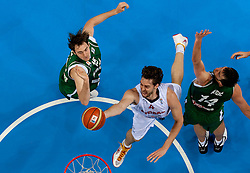 Pau Gasol of Spain vs Erazem Lorbek of Slovenia and Mirza Begic of Slovenia during basketball game between National basketball teams of Spain and Slovenia at Quarterfinals of FIBA Europe Eurobasket Lithuania 2011, on September 14, 2011, in Arena Zalgirio, Kaunas, Lithuania. Spain defeated Slovenia 86-64. (Photo by Vid Ponikvar / Sportida)