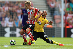 13 August 2016 - Premier League - Southampton v Watford - James Ward-Prowse of Southampton in action with Adlene Guedioura of Watford - Photo: Marc Atkins / Offside.