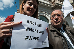 May 3, 2019 - Rome, italy, Italy - Giuseppe Giulietti President of FNSI during The National Federation of the Press together with the Order of Journalists took to the streets today to defend the freedom of the press  on May 3, 2019., 2019 in Rome, (Credit Image: © Andrea Ronchini/NurPhoto via ZUMA Press)