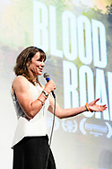 Rebecca Rusch speaks with attendees during the post film Q&A session of Blood Road at the Bluebird Theater in Denver, CO, USA on 27 June, 2017.