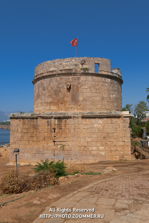 Hidirlik Tower, Roman fortification of the 2nd century in Antalya old town, Turkey