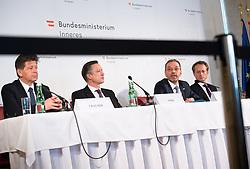 """25.02.2019, Innenministerium, Wien, AUT, Bundesregierung, Pressekonferenz zum Thema """"Aktuelles aus dem Bereich Asyl und Fremdenwesen, im Bild Wolfgang Taucher (Leiter der Gruppe V/C """"Asyl und Rückkehr""""), Matthias Vogl (Leiter Sektion III """"Recht""""), Innenminister Herbert Kickl (FPÖ) und Peter Webinger (Leiter Sektion V """"Fremdenwesen"""") // during a media conference at the interior ministry due to asylum topic in Vienna, Austria on 2019/02/25, EXPA Pictures © 2019, PhotoCredit: EXPA/ Michael Gruber"""