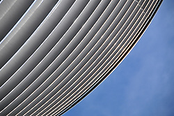 Curved Building and Blue Sky, Low angle view