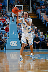 CHAPEL HILL, NC - FEBRUARY 25: Cole Anthony #2 of the North Carolina Tar Heels plays during a game against the North Carolina State Wolfpack on February 25, 2020 at the Dean Smith Center in Chapel Hill, North Carolina. North Carolina won 79-85. (Photo by Peyton Williams/UNC/Getty Images) *** Local Caption *** Cole Anthony