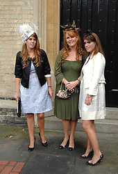 SARAH, DUCHESS OF YORK and her children HRH PRINCESS BEATRICE OF YORK and HRH PRINCESS EUGENIE OF YORK at the wedding of Chloe Delevingne to Louis Buckworth at St.Paul's Knightsbridge, London on 7th September 2007.<br />