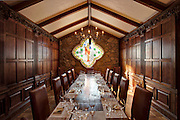Oak paneled tasting room in Terra Valentine Winery, Spring Mountain wine growing district near St. Helena in California's famous Napa Valley.