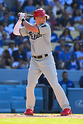 May 28, 2018 - Los Angeles, CA, U.S. - LOS ANGELES, CA - MAY 28: Philadelphia Phillies left fielder Rhys Hoskins (17) at bat during a MLB game between the Philadelphia Phillies and the Los Angeles Dodgers on Memorial Day, May 28, 2018 at Dodger Stadium in Los Angeles, CA. (Photo by Brian Rothmuller/Icon Sportswire) (Credit Image: © Brian Rothmuller/Icon SMI via ZUMA Press)