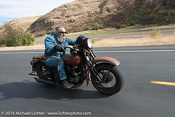 Greg Wood riding his 1944 Knucklehead hard (70 mph+) after hanging with Dave Kafton and his other Cali Cannonballer friends during Stage 14 - (284 miles) of the Motorcycle Cannonball Cross-Country Endurance Run, which on this day ran from Meridian to Lewiston, Idaho, USA. Friday, September 19, 2014.  Photography ©2014 Michael Lichter.