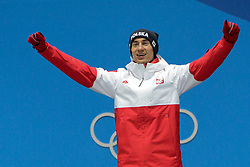 February 18, 2018 - Pyeongchang, South Korea - KAMIL STOCH of Poland celebrates getting the gold medal in the Men's Large Hill Individual ski jumping event in the PyeongChang Olympic Games. (Credit Image: © Christopher Levy via ZUMA Wire)