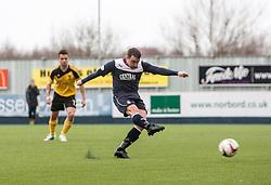 Falkirk's Mark Millar misses their penalty.<br /> Falkirk 1 v 1 Livingston, Scottish Championship game today at The Falkirk Stadium.<br /> © Michael Schofield.