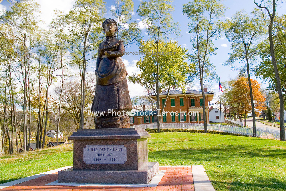 Statue of first lady Julia Dent Grant in the background is the home of civil war general and 18th president Ulysses S. Grant. Galena Illinois USA,