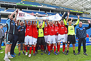 The England over 60's celebrate their victory over Italy with the Just International Cup during the trophy presentation which they won 3-0 during the world's first Walking Football International match between England and Italy at the American Express Community Stadium, Brighton and Hove, England on 13 May 2018. Picture by Graham Hunt.