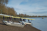 Putney, London, Varsity, Tideway Week, 5th April 2019, OUWBC, move their eight to the river for a training session.  Oxford/Cambridge Media week, Championship Course,<br /> [Mandatory Credit: Peter SPURRIER], Friday,  05.04.19,