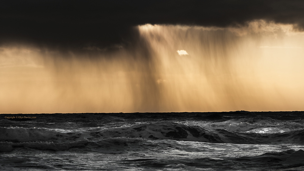Such beauty in such turmoil; drifting curtains of heavy showers backlit by the most wonderful Autumnal sunset. Spray-covered faces; salt-crusted skin, and sea-coasted glass all made for a vivid experience of nature in full flow.