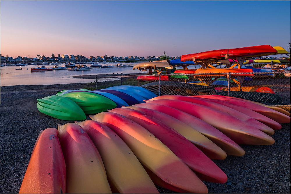 Kayak rentals at Webhannet River Boat Yard. Wells Beach, Wells, ME
