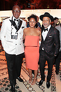 New York, NY- May 22: (L-R) Documentary Photographer Jamel Shabazz (Honoree), Chef Leslie Parks and Visual Artist Radcliffe Bailey attends the Gordon Parks Foundation Awards Dinner & Auctionn: Celebrating the Arts & Humanitarianism held at Cipriani 42nd Street on May 22, 2018 in New York City.   (Photo by Terrence Jennings/terrencejennings.com)