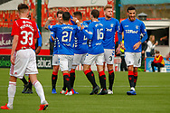 Ryan Jack celebrates with his Rangers team mates following is goal during the Ladbrokes Scottish Premiership match between Hamilton Academical FC and Rangers at The Hope CBD Stadium, Hamilton, Scotland on 24 February 2019.