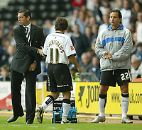 Photo: Aidan Ellis.<br /> Derby County v Leicester City. Coca Cola Championship. 01/10/2005.<br /> Derby's Paul Peschisolido is substituted by Phil Brown but only to the boo's of the home fans