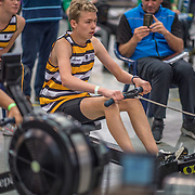 Ben McGregor U15 1K Race #12  12:00pm<br /> <br /> www.rowingcelebration.com Competing on Concept 2 ergometers at the 2018 NZ Indoor Rowing Championships. Avanti Drome, Cambridge,  Saturday 24 November 2018 © Copyright photo Steve McArthur / @RowingCelebration