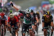 Arrival Sam Bennett (IRL - Bora - Hansgrohe) celebration during the 101th Tour of Italy, Giro d'Italia 2018, stage 12, Osimo - Imola 213 km on May 17, 2018 in Italy - Photo Roberto Bettini / BettiniPhoto / ProSportsImages / DPPI