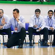Anadolu Efes's coach Ufuk SARICA (F) during their Turkey Cup Qualifying basketball second match Anadolu Efes between Pinar Karsiyaka at Aliaga Arena in Izmir, Turkey, Monday, October 10, 2011. Photo by TURKPIX