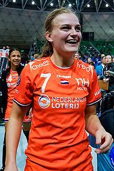 13-12-2019 JAP: Semi Final Netherlands - Russia, Kumamoto<br /> The Netherlands beat Russia in the semifinals 33-22 and qualify for the final on Sunday in Park Dome at 24th IHF Women's Handball World Championship / Debbie Bont #7 of Netherlands