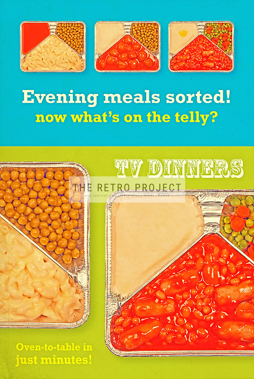 TV dinner tray meal retro advert aluminium food dishes on green and blue background colour aged