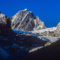 A glacier and mountains above the Cho La pass in the Khumbu region of Nepal's Himalaya.