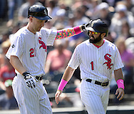 CHICAGO - MAY 08:  Todd Frazier #21 and Adam Eaton #1 of the Chicago White Sox celebrate against the Minnesota Twins on May 8, 2016 at U.S. Cellular Field in Chicago, Illinois.  The White Sox defeated the Twins 3-1.  (Photo by Ron Vesely)   Subject: Todd Frazier; Adam Eaton