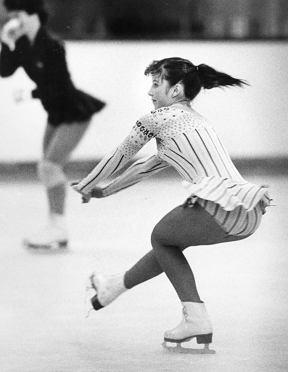©1989 Tracy McCormick does a ice skating routine at Northcross Mall in Austin, Texas