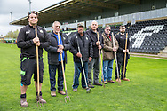 Groundsman Adam Witchell with his staff during the Vanarama National League match between Forest Green Rovers and Chester FC at the New Lawn, Forest Green, United Kingdom on 14 April 2017. Photo by Shane Healey.