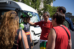 Sheyla Gutierrez chats to her family who made the trip for Madrid Challenge by la Vuelta 2017 - a 87 km road race on September 10, 2017, in Madrid, Spain. (Photo by Sean Robinson/Velofocus.com)