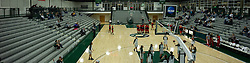 10 January 2015:  Multiple image stitched panoramic of warm ups in Shirk Center Gym during an NCAA women's division 3 CCIW basketball game between the Carthage Reds and the Illinois Wesleyan Titans in Shirk Center, Bloomington IL