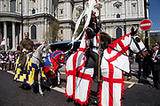 St. George's Day Parade, London. This has not taken place in the city since 1585, so is a tradition revived in 2010. St George on horseback accompanied by characters representing the King and his daughter.