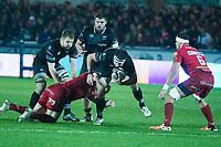 Rugby Union - 2017 / 2018 Guinness Pro14 - Scarlets vs. Ospreys<br /> <br /> Scott Baldwin of Ospreys attacks, at Parc y Scarlets.<br /> <br /> COLORSPORT/WINSTON BYNORTH
