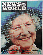 The 'News of the World' Newspaper 10th July 2011. The commemorative final edition of the newspaper carries a re-print of the 2002 Issue marking the death of the Queen Mother, Queen Elizabeth of Great Britain.